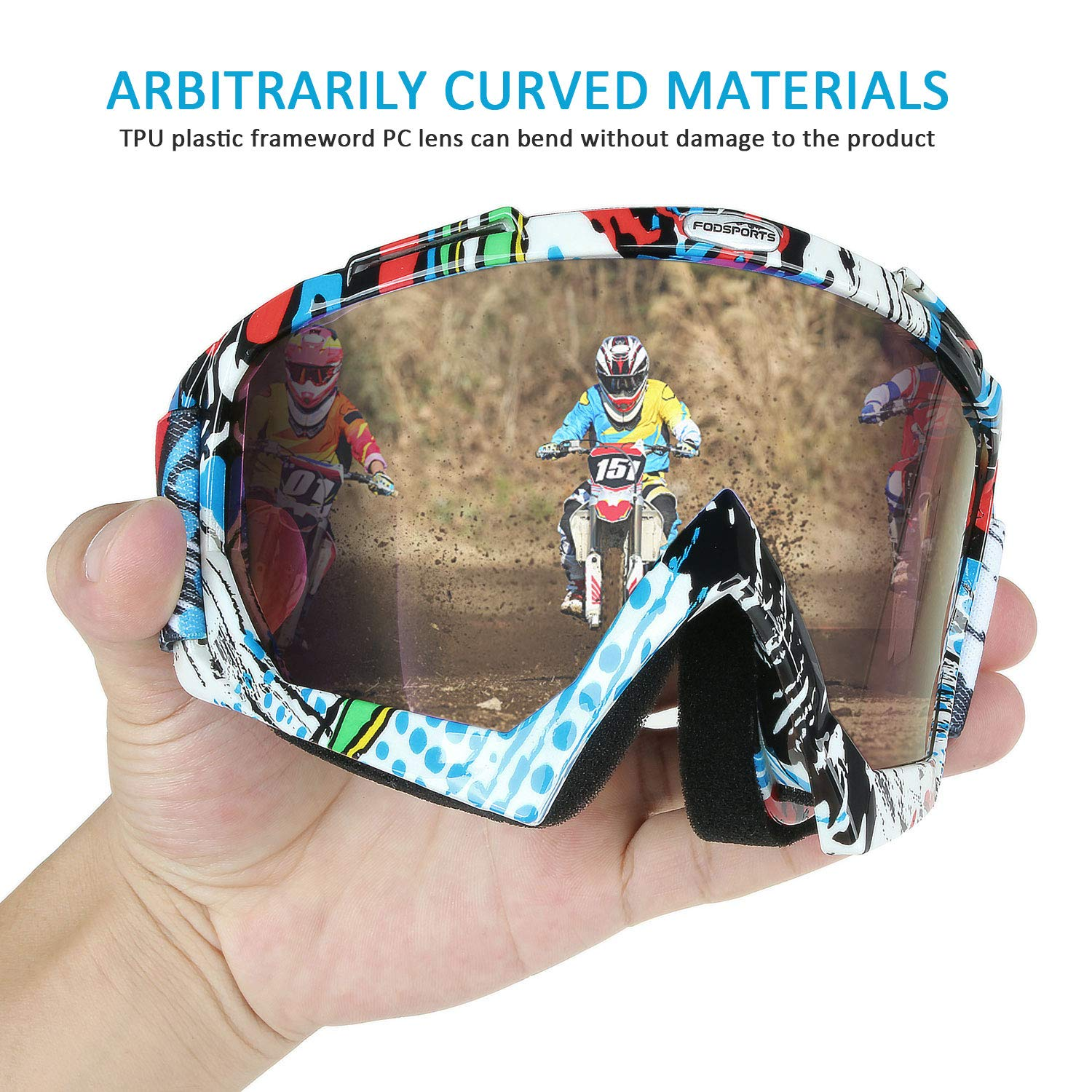 Fodsports Motorcycle Motocross Goggles Anti UV Safety Goggles Dirt Bike Goggles Dustproof Motorcycle Glasses for Cycling Riding Climbing Skiing B Style MG100-B