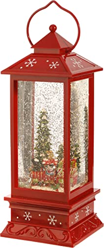 Lighted Snow Globe Lantern 11 Inch, Red Holiday Water Lantern by RAZ Imports Snowman and Train