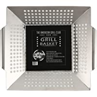 The American Grill Club Grilling Basket - Large Portable Indoor Outdoor Stainless Steel BBQ Pan - Barbeque a Vegetable Kabob or Charbroil Fish in Backyard or while Camping with Propane Gas or Charcoal