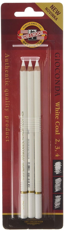 KOH-I-NOOR-Matite, colore: bianco/carbone (confezione da 3) 8812003002BL