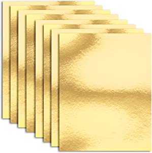Metallic Cardboard Sheets in Gold Foil for Arts & Crafts Supplies (Letter Size, 50-Pack)