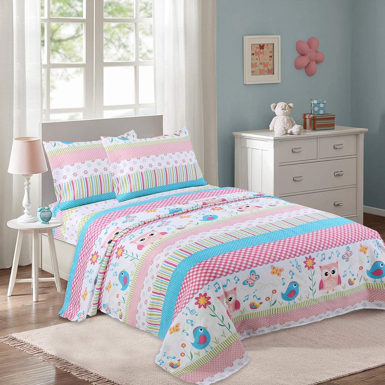MarCielo Bed Sheets for Kids Twin Sheets for Kids Girls Boys Teens Children Sheets Soft Fitted Flat Printed Sheet Pillowcase Kids Bedding Bunk Beds Set Bird Garden A73 (Full)