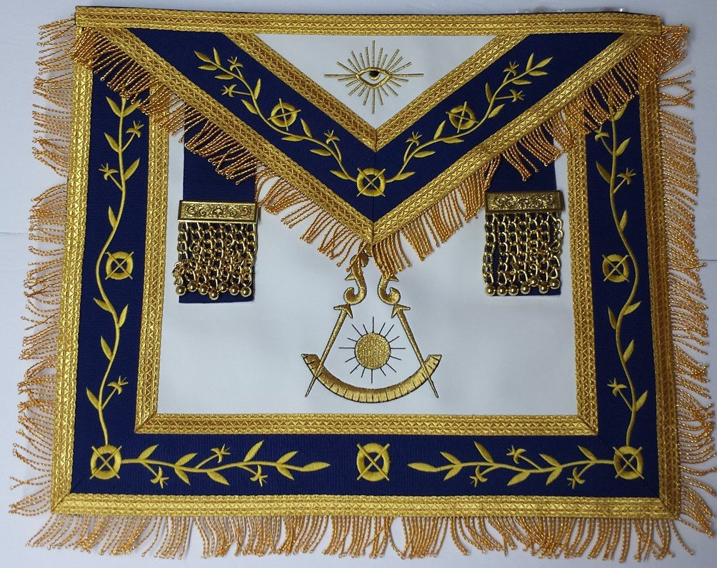 Masonic Apron-Embroidered Past Master Apron Royal Blue (Blue & Gold) by Zest4Canada