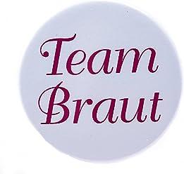 AnneSvea Button - Team Braut Hochzeit JGA pink 3,8 cm
