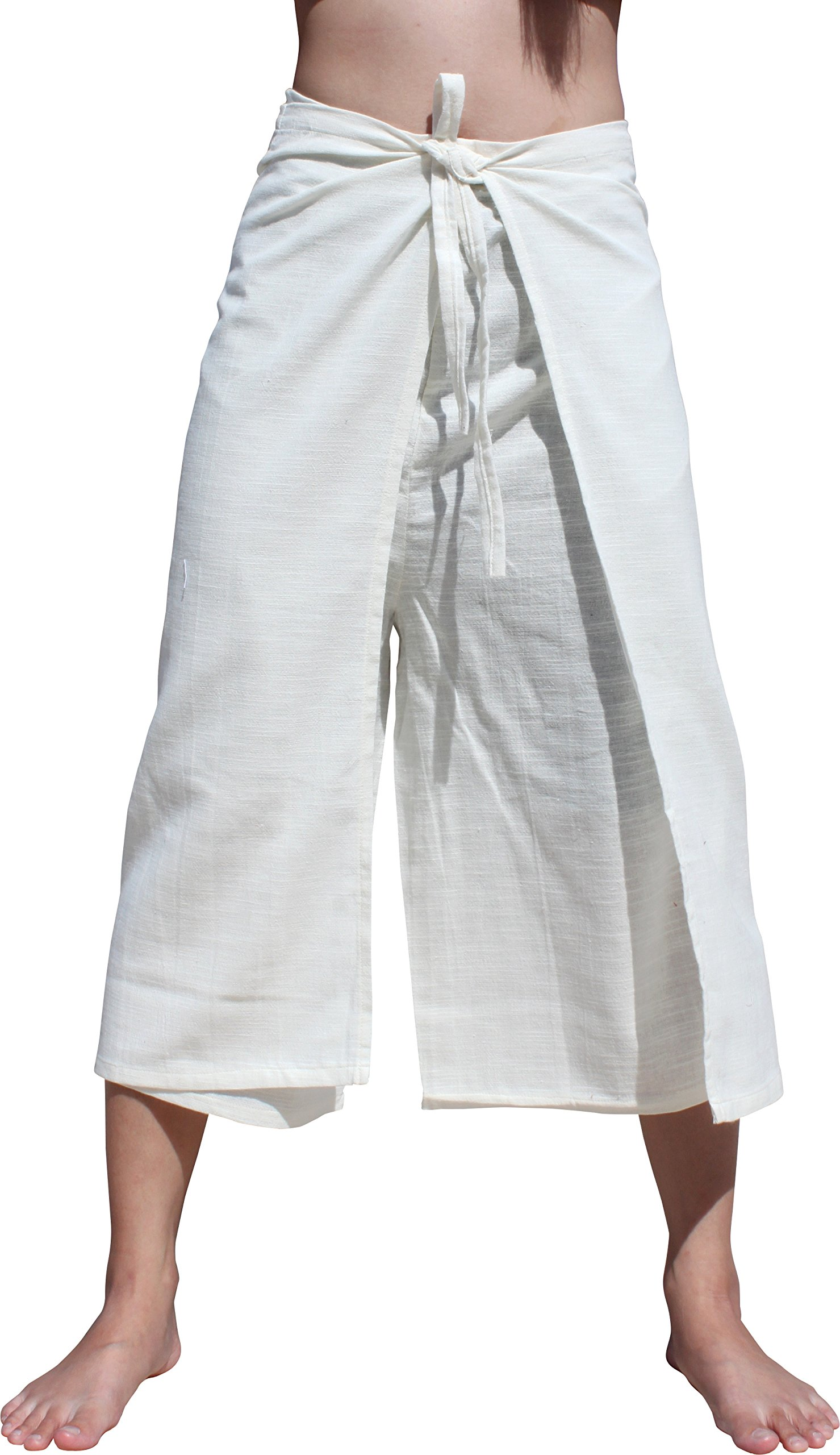 RaanPahMuang Drive In Wrap Pants In Summer Plain Mixed Cotton, Medium, Yeaphai Cotton - White by RaanPahMuang