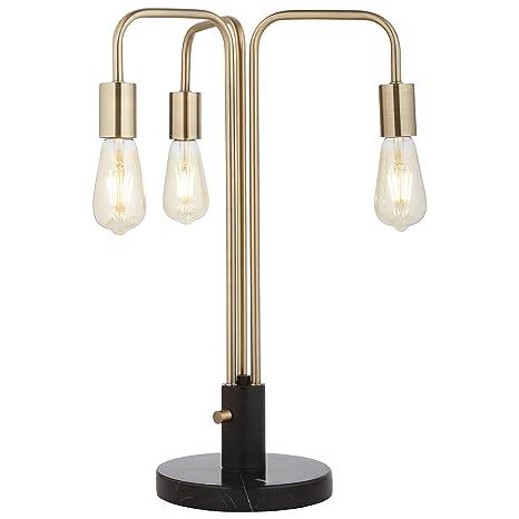 Rivet Theory Edison Bulb 3 Arm Table Lamp With Bulbs Black And