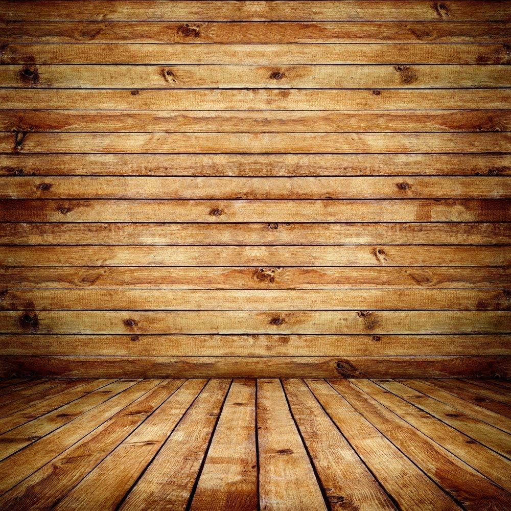 GoHeBe 10x10Ft Seamless Wooden Wall Vinyl Photography Backdrop Photo Background Studio Prop PGT029B