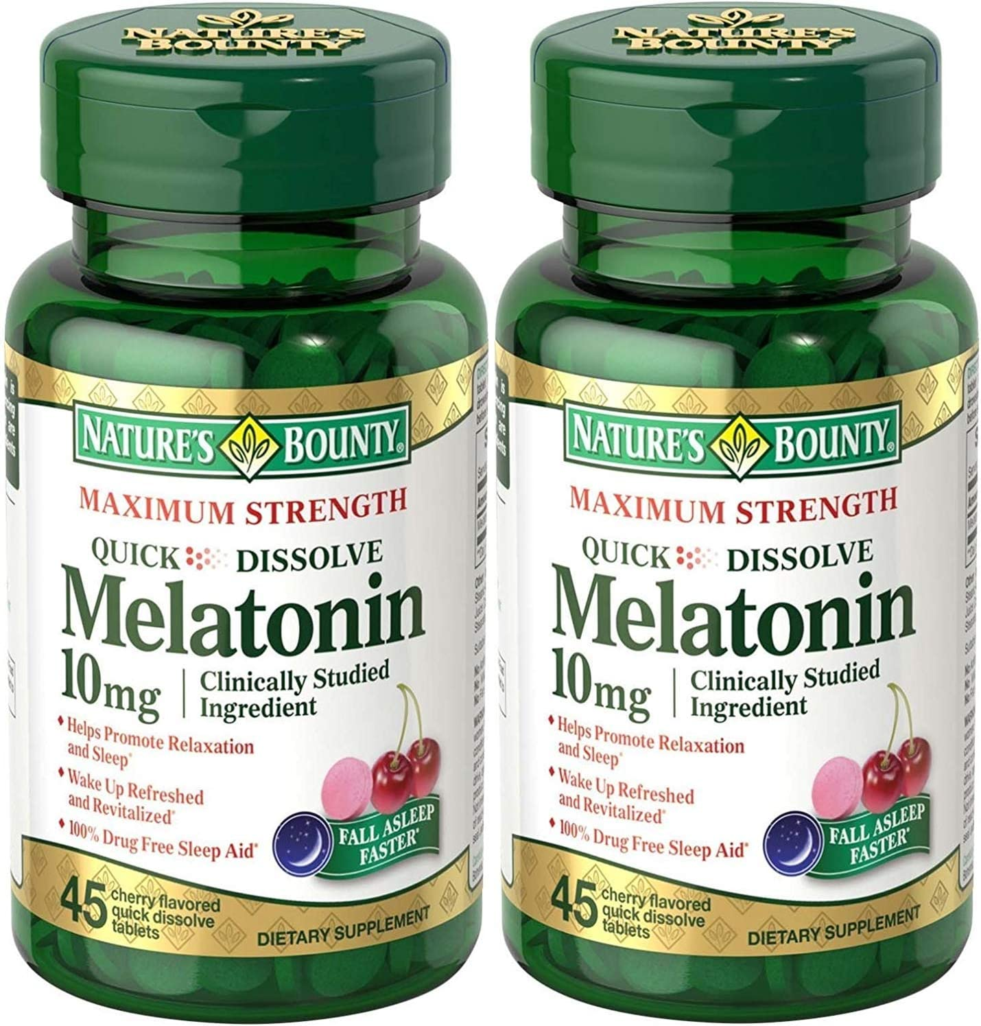 Natures Bounty Melatonin Quick Dissolve Tablet, 10 mg, 90 Tablets (2 X 45Count Bottles)