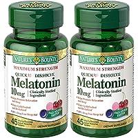 Natures Bounty Melatonin Quick Dissolve Tablet, 10 mg, 90 Tablets (2 X 45Count Bottles)