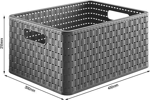 Rotho Country, Caja de almacenamiento de 18 litros en aspecto de ratán, Plástico PP sin BPA, antracita, A4, 18l 36.8 x 27.8 x 19.1 cm: Amazon.es: Hogar