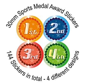Sports day place stickers 144 30mm stickers 4 designs 1st 2nd