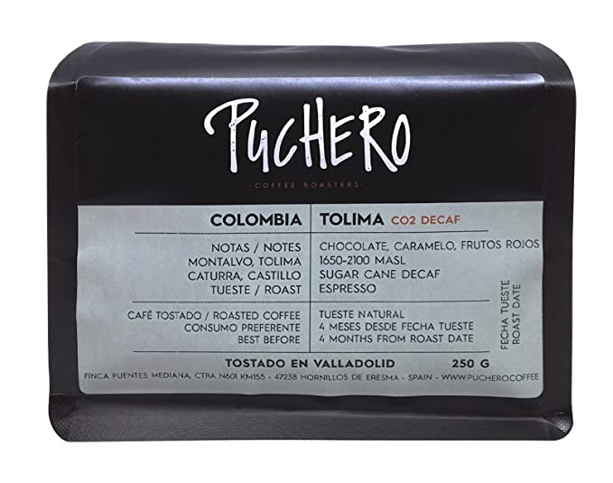 Puchero Coffee - CO2 Decaf - Tolima, Colombia - En grano, tueste ...