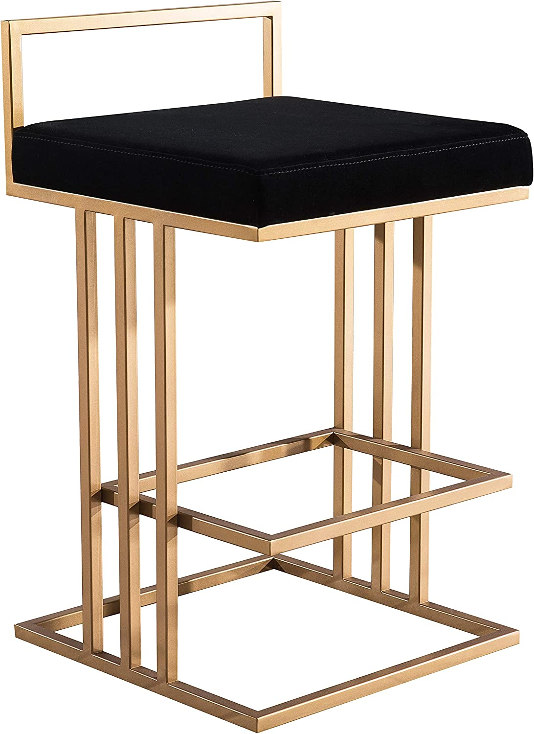 TOV Furniture The Trevi Collection Contemporary Velvet Upholstered Counter Stool, Black