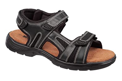 MENS SIZE 7 8 9 10 11 12 BROWN LEATHER WALKING HIKING TOUCH STRAP SPORT SANDALS