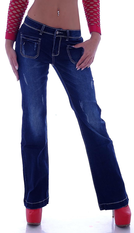 Style Station Bootcut Schlag Jeans Hose Bootcutjeans Schlagjeans Hüftjeans Damenjeans Blau 34 36 38 40 42 44