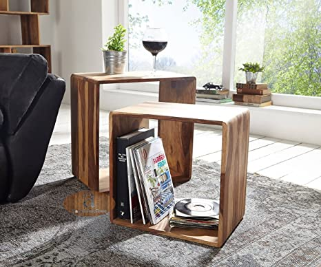 1160fba80f Angel Furniture Hamilton Sheesham Wood Nested Cube/Side Table, (Brown):  Amazon.in: Home & Kitchen
