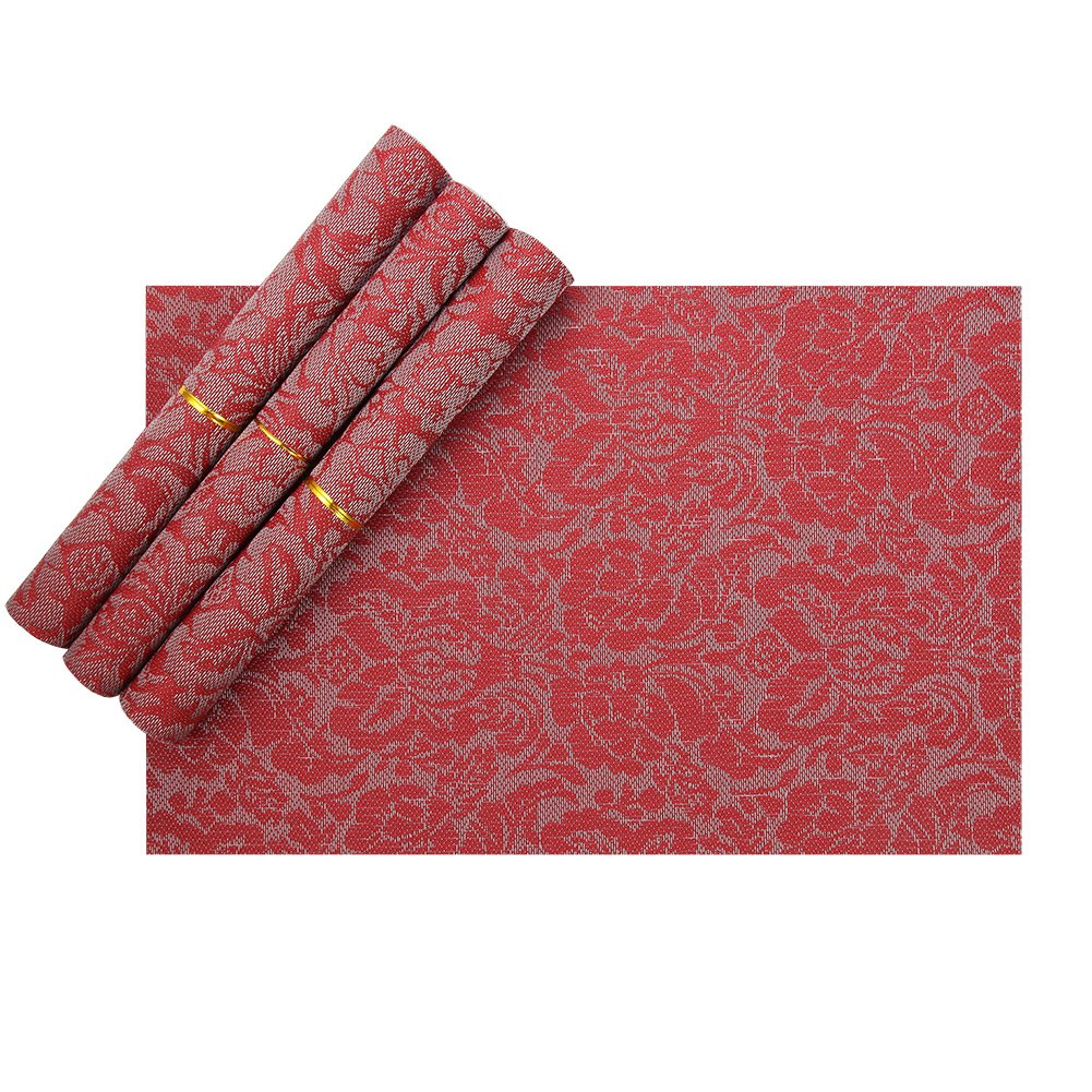Amazon Vinyl Placemats Red Heat Resistant For Kids Christmas Set Of 4 Kitchen Dining