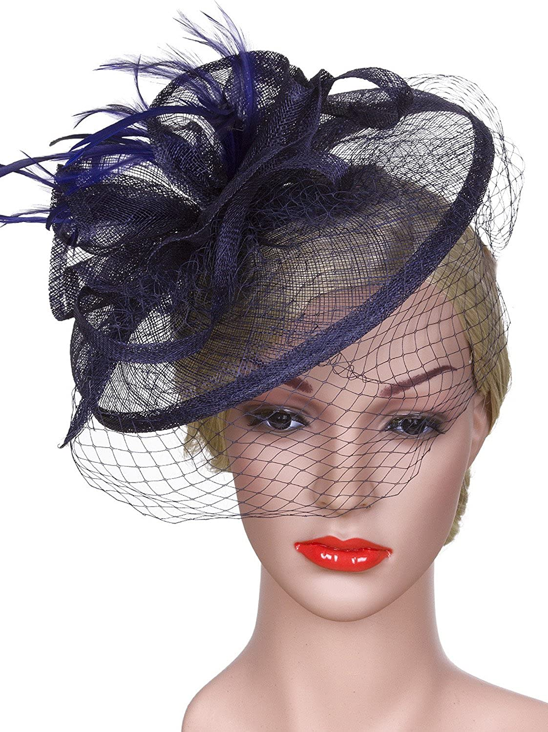 Vijiv Women Vintage Derby Fascinator Hat With Veil Pillbox Headband Feather Cocktail Tea Party JXJ-FH3308B
