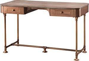 Southern Enterprises Edison Writing Desk, Antique copper with burnt oak