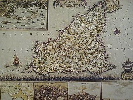 Cartina Sicilia Antica.Stass Mappa Della Sicilia Antica Reprint 1680 De Wit Frederick Amazon It Casa E Cucina