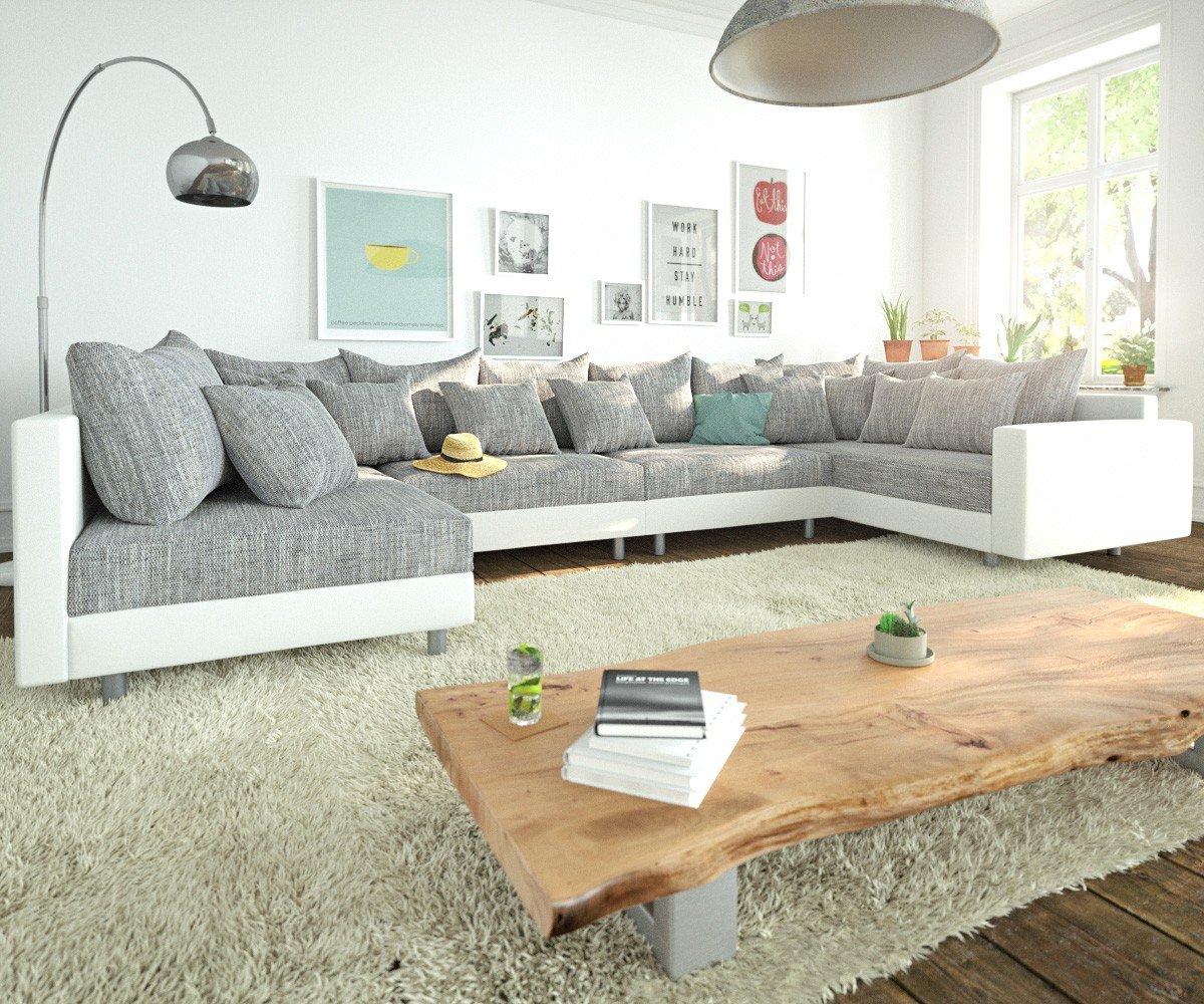 Couch Clovis XL Weiss Hellgrau mit Armlehne Wohnlandschaft modular