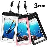 Wasserdichte Hülle Handy Tasche - AROYI IPX8 Wasserfeste Handyhülle Tasche Beutel Staubdicht Schwimmen Trocken Tasche für iPhone bis zu 6.0 Zoll Smartphone ( 3 Stück, Schwarz +Transparent + Rose)