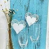 JZK® 50 x Bianco cuore segna posto segnaposto segnatavolo segnabicchiere bomboniera per matrimonio compleanno nascita battesimo comunione Natale segnaposti segna bicchiere