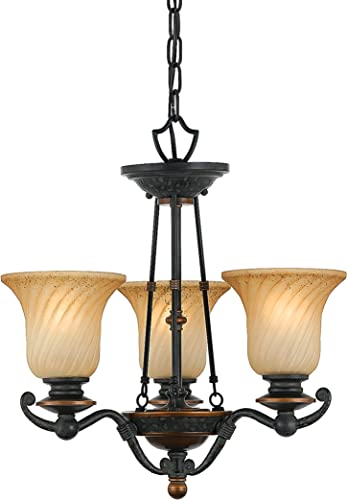 Quoizel GE5003SE Geneva 3-Light Chandelier with Twisted Amber Scavo Glass, Stonehedge