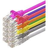 1aTTack - Câble réseau ethernet RJ45 CAT5 Lan - Set - UTP - (7 couleurs 7 pièces) -25cm