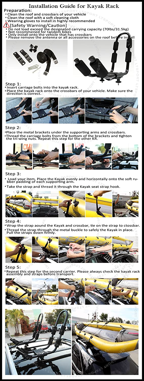 LT Sport 00842148154630 for Subaru Forester Surf Ski Carrier Heavy-Duty Rooftop Pair Kayak Rack