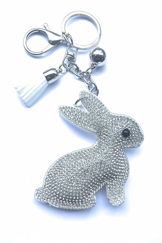 bianco con strass e nappa FizzyButton Gifts Bunny rabbit silhouette borsa fascino portachiavi mano