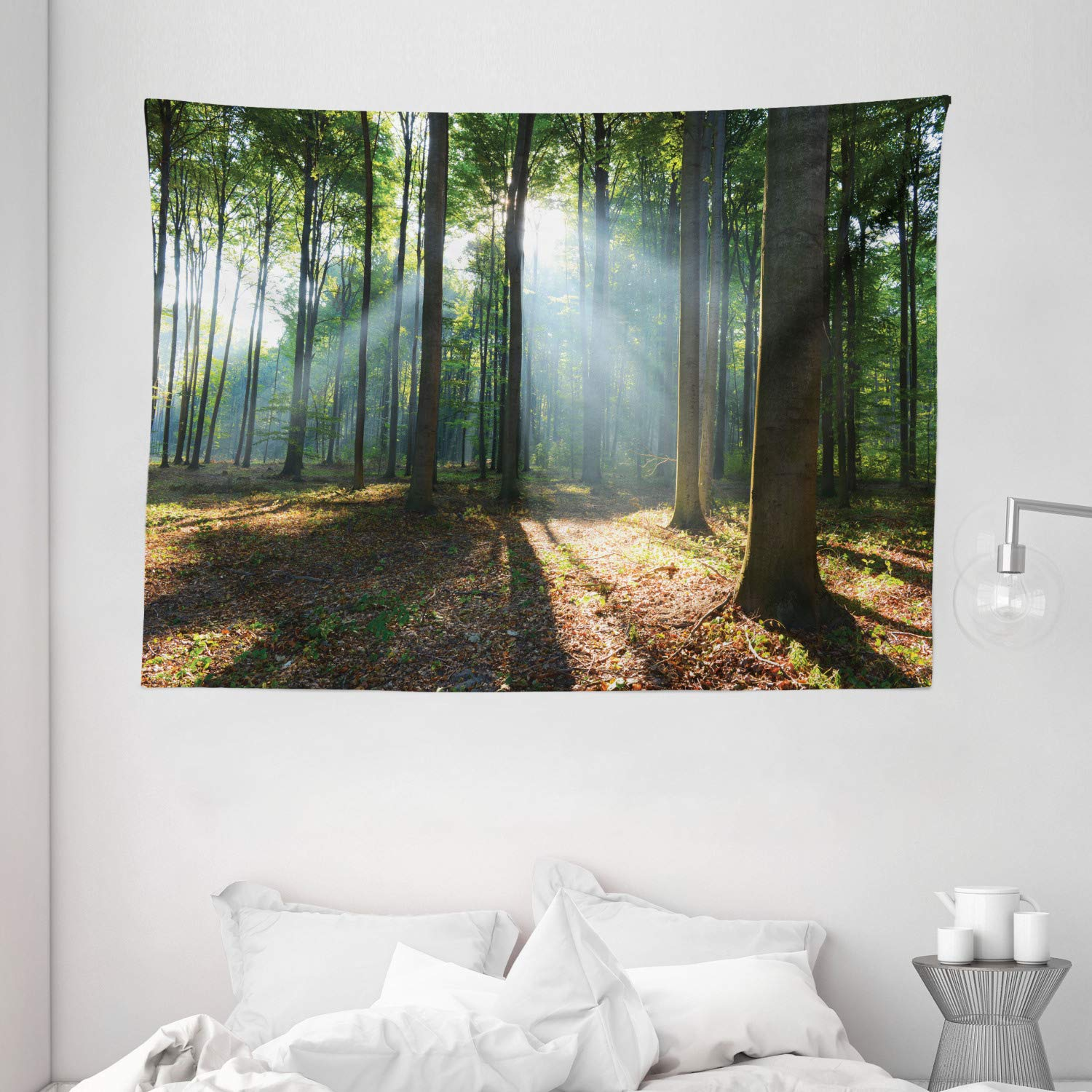 Forest Morning Haze City Park Ecology Hiking Traveling Destination Scenery Photo Wide Wall Hanging for Bedroom Living Room Dorm Ambesonne Forest Tapestry 80 X 60 Green Brown