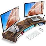 LORYERGO Dual Monitor Riser Stand - 3 Shelf Screen Laptop Stand with Storage Slots for Phone (Vintage)