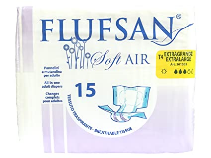 FLUFSAN Pañales para adultos todo en día Pañales transpirables extra grandes, SIN LÁTEX, 70