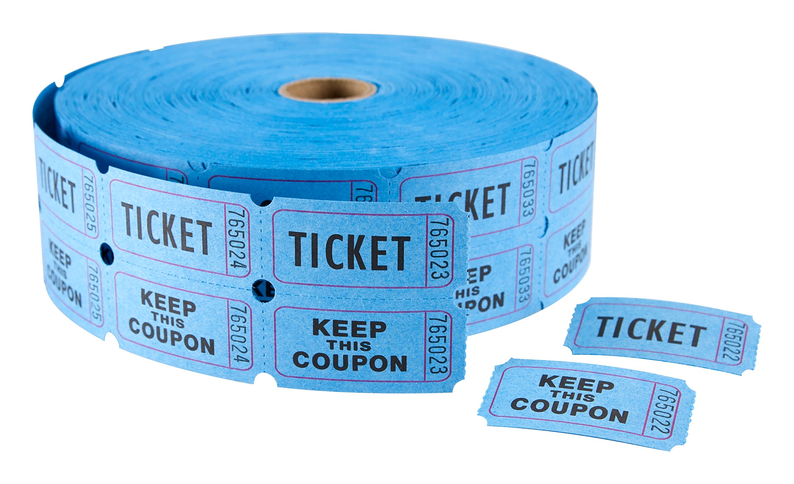 MACO Double Roll - Ticket/Keep This Coupon - Tickets, 1 x 2 Inches, Blue, 2000 Per Roll (18-621)