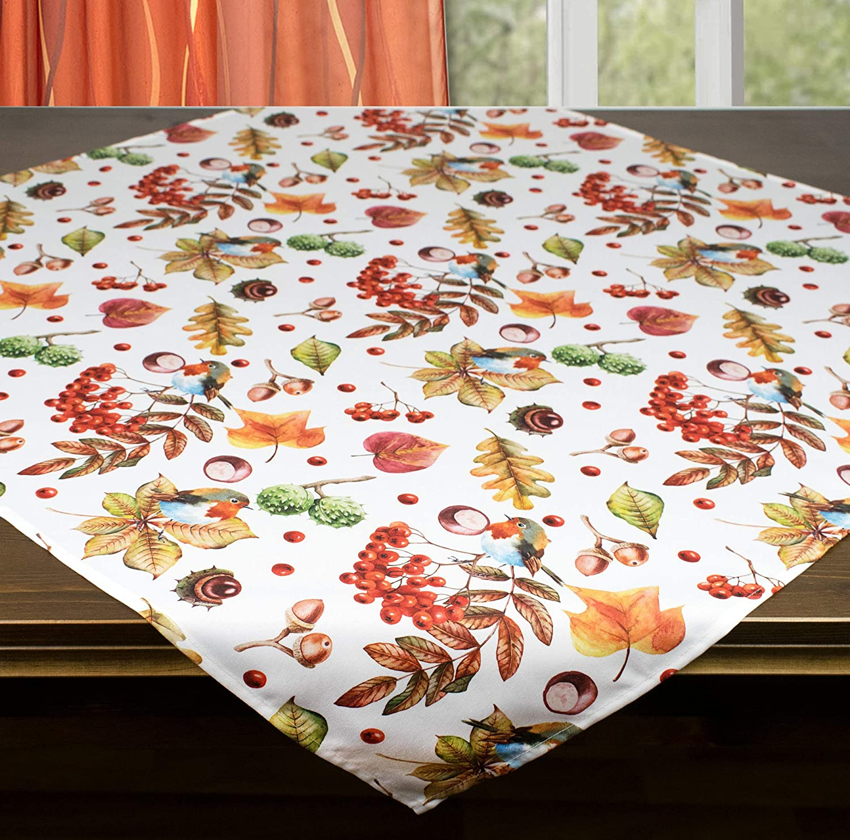 Tischl/äufer 40x140 cm Kamaca Tischdecke Mitteldecke Rotkehlchen im Garten hochwertiges Druck-Motiv Schmuckst/ück Herbst Winter