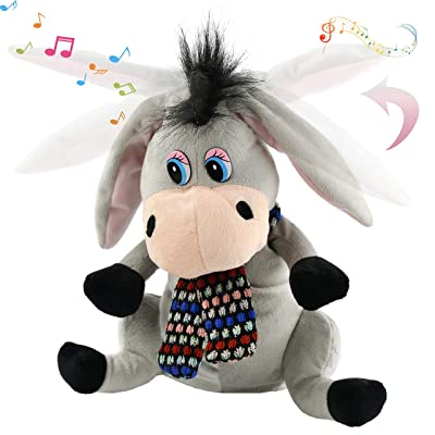 Houwsbaby Interactive Donkey Musical Stuffed Animal Singing Plush Toy Adorable Burro Clapping Ears Electric Animate Gift for Kids Boys Girls Holiday Birthday, Gray, 11'': Toys & Games