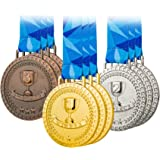 Premium Award Medals, Olympic Style, Gold Silver Bronze (Bulk Set of 9), Metal and Ribbon, Prize for Events, Classrooms, or Office Games, 1st 2nd 3rd Place