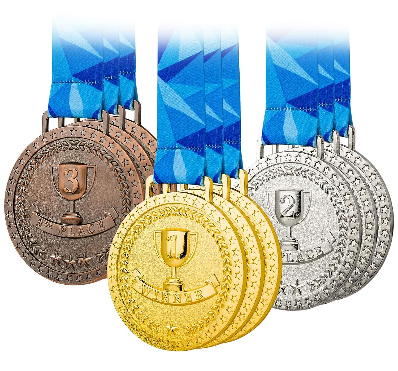 プレミアム賞メダル オリンピックスタイル ゴールドシルバーブロンズ 9個セット メタルとリボン イベント 教室 オフィスゲーム 2位3位 B07QCWPFGG