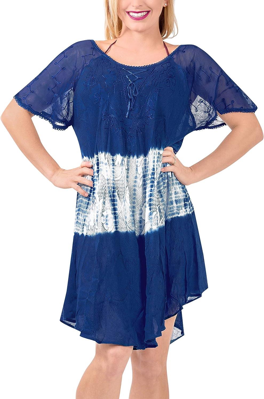LA LEELA Womens One Size Beach Dress Kaftan Sun Dresses for Women Hand Tie Dye