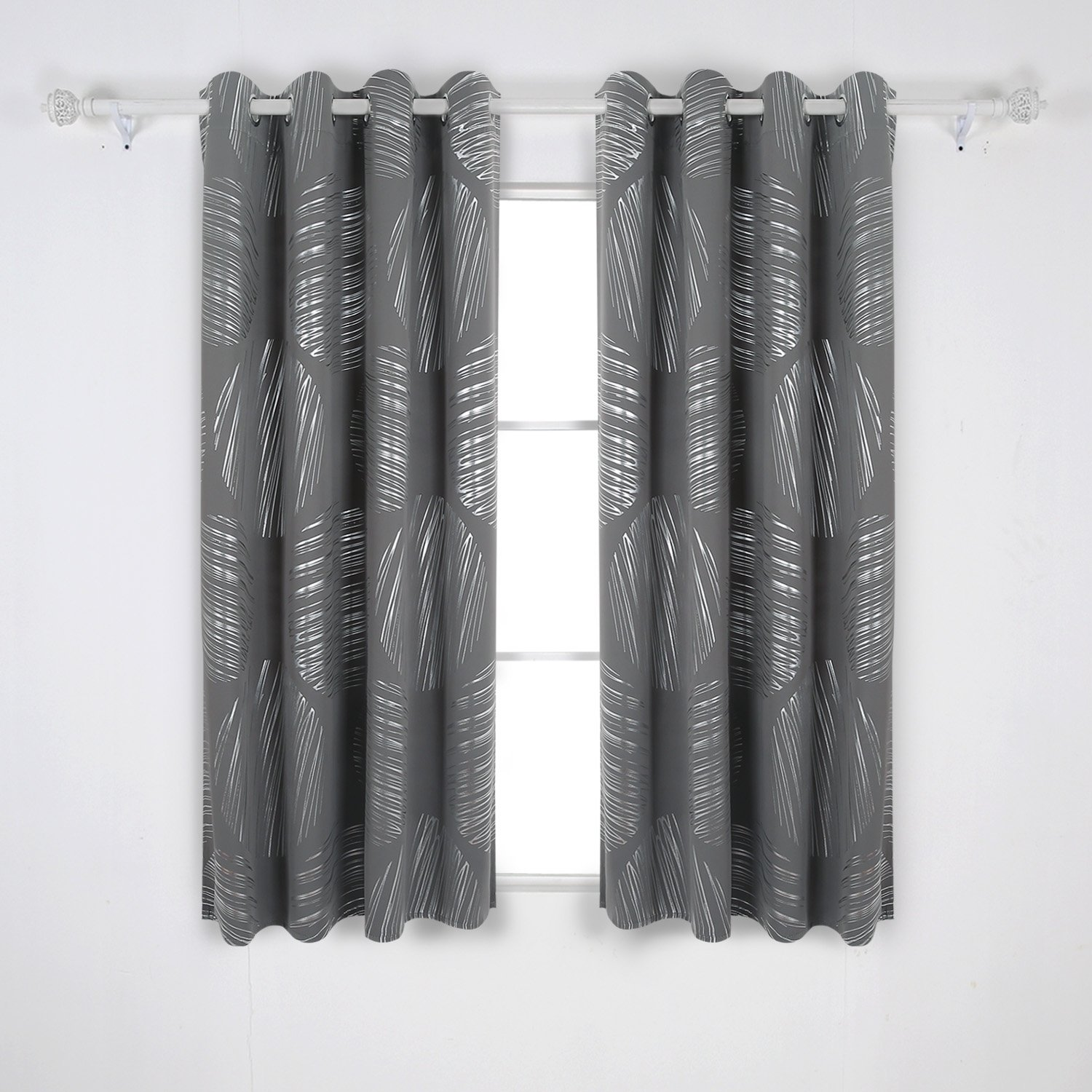 Deconovo Shimmering Foil Print Thermal Insulated Drapes Blackout Grommet Curtains for Boy's Bedroom 52W x 63L Inch 1 Pair Light Gray