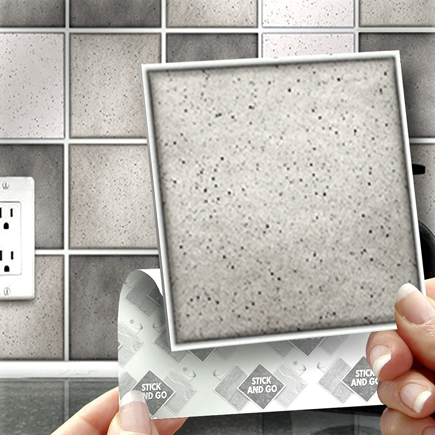 18 GREY SPECKLE MIX EFFECT WALL TILES - 2mm Thick and solid Self ...