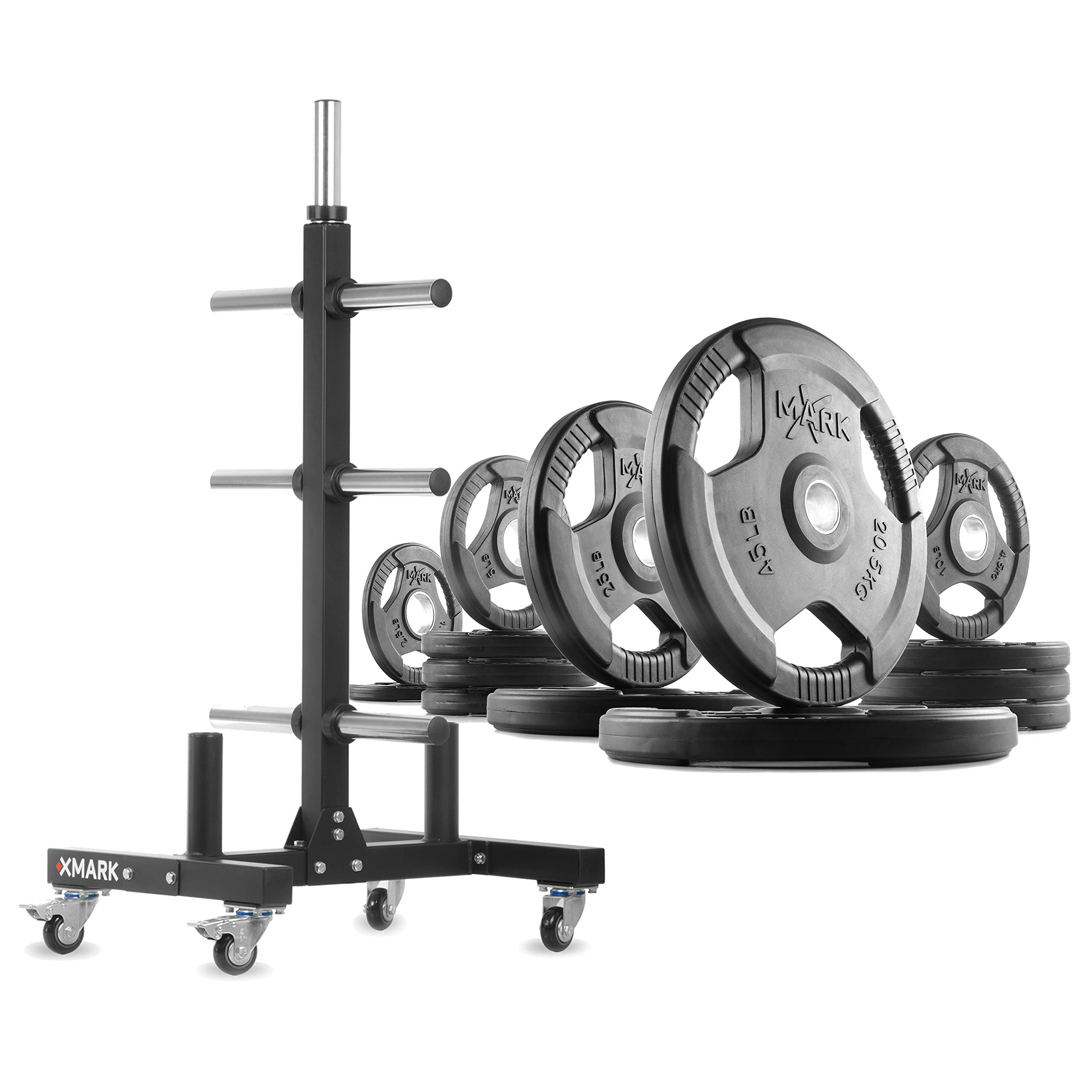 XMark XM-9055 Commerical Olympic Weight Tree Plus a 205 lb Set of TRI-Grip Olympic Plates by XMark