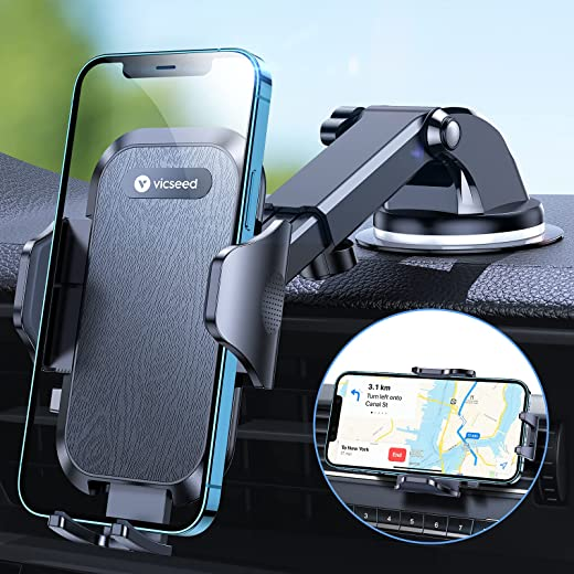 VICSEED [Powerful Suction] Car Phone Holder Mount [Ultimate Stable] Cell Phone Holder for Car Dashboard Windshield Air Vent Hands Free Phone Car Mount Compatible with iPhone 12 Pro Galaxy S21 and More