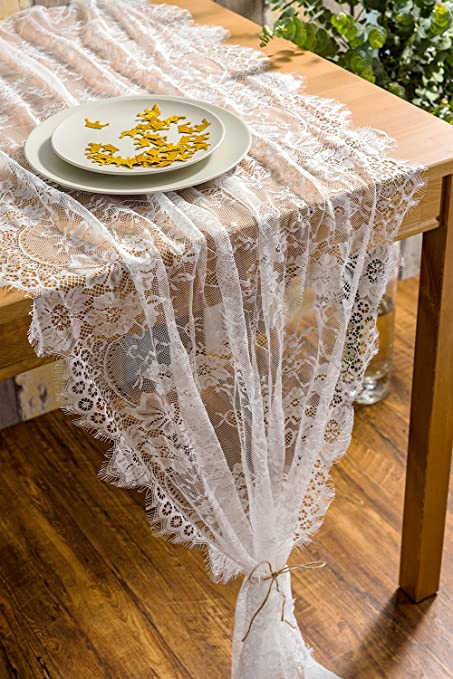 Crisky 32quot X 120quot Lace Table Runners For Wedding Overlay With Rose Vintage