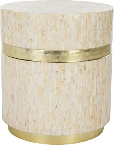 Safavieh Home Perla Pink Champagne and Gold Faux Mother of Pearl Mosaic Round Side Table