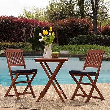 Sunward Outdoor Bistro Sets / Patio Table Sets / Bistro Set 3 Piece /  Folding Coffee