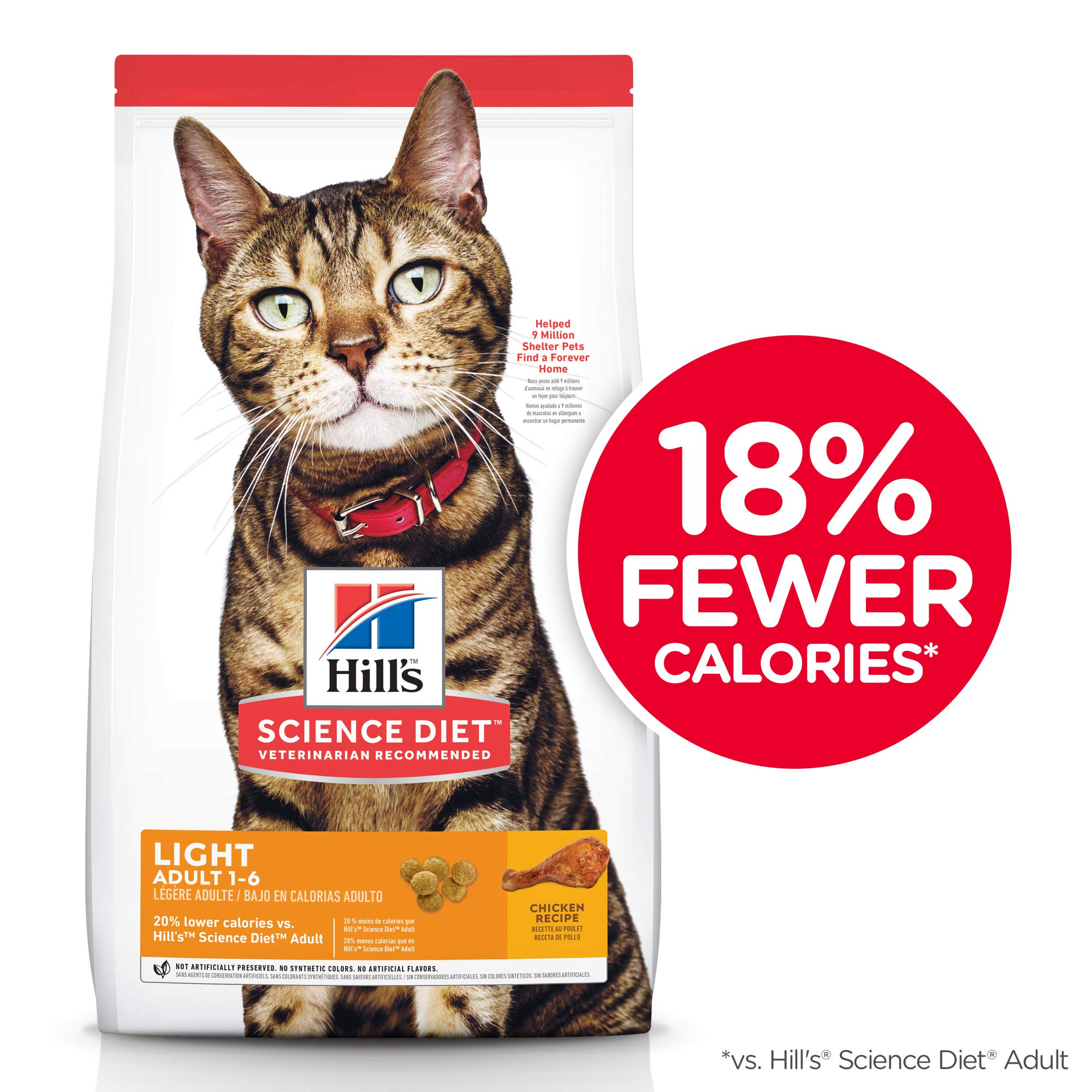 Hill's Science Diet Dry Cat Food, Adult, Light for Healthy Weight & Weight Management, Chicken Recipe, 16 lb Bag