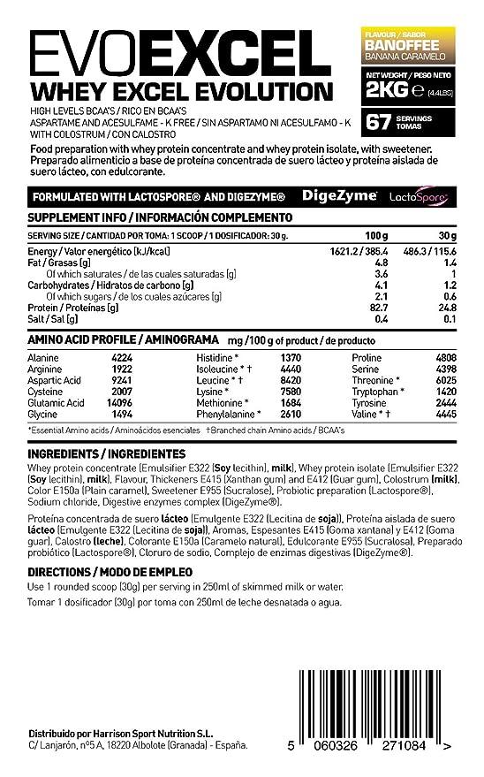 HSNS6 Evoexcel Proteínas con Sabor de Banana - 2000 gr