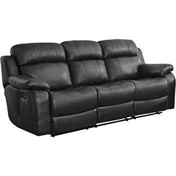 Beau Homelegance Marille Reclining Sofa W/ Center Console Cup Holder, Black  Bonded Leather